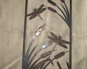 Cattails with two Dragonflys  - Metal art