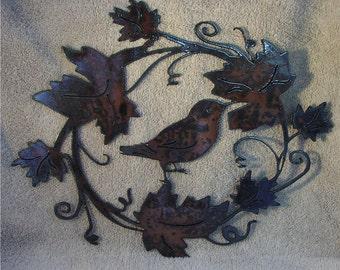 Bird in grapevine   - Metal art