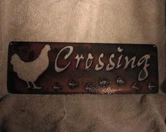Chicken Crossing  - Metal art