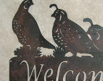 3 Quail Welcome sign - Metal art - Custom Sign