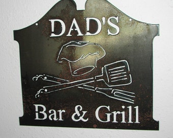 Dads Bar and Grill  - Wall art - Metal art