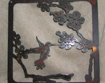 Hummingbird in the Blossoms  - Metal art