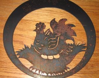 Hen sitting on nest  - Metal art