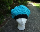 Crocheted Turquois and Black Kingston Cap