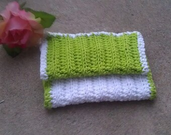 Crocheted Lime Green and White Washcloth/ Bath