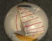 VINTAGE XMAS 3.5 BALL Sailboats Handpntd Glass Ornament