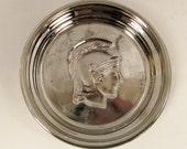 vintage GREEK WARRIOR Tray bowl SILVER mercury glass ap 4 in diameter