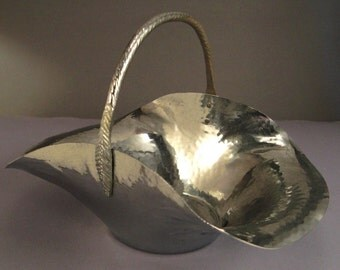 ARTS AND CRAFTS Chrome Basket Hammered Texture With Handle