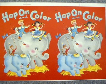 VINTAGE 1960s ELEPHANTS  PAINT Book Publisher'S Proof Cover
