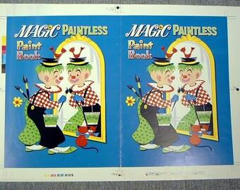 VINTAGE 1960s CLOWNS MAGIC Paint Book Publisher'S Proof Cover