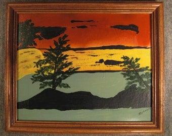Painting Landscape Impressionistic on board frmd signed