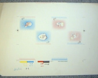 BABY CARD Vintage 1940s-50s Publishers Proof Whitmans framed