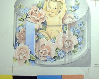 BABY CARD Vintage  1942 Publishers Proof Whitmans for Montgomery Ward framed