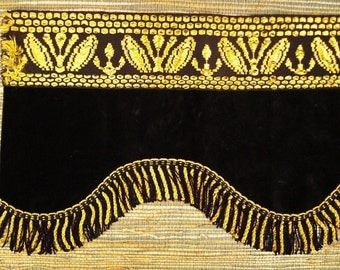 VICTORIAN Valance BROCADE Woven  GOLD and Black with Fringe   39 X 13