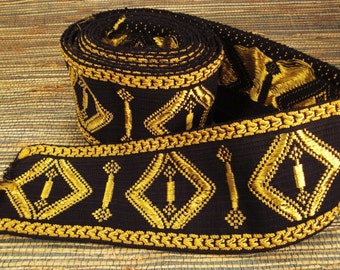 Victorian Ribbon TRIM BROCADE Woven GOLD and Black with Fringe 162 X 4