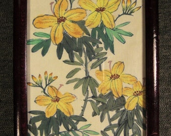 Vintage Silk Painting watercolor Signed Yellow jasmin blooming ASIAN 16x5 framed