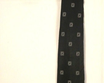 Rockabilly NECKTIE super SKINNY Designer Rhodia France 1960 s 57 in acetate black and white