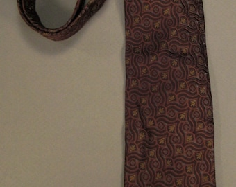 Designer Neck TIE  Robert TALBOTT Estate woven brocade paisley swirls Design sSilk 59in