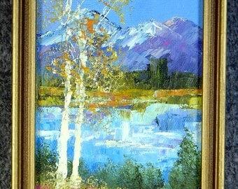 Impressionistic Painting  OREGON  Signed  original K C Barnes framed  colorful 5 x 7