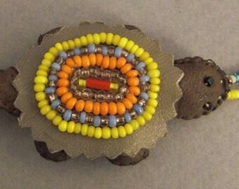 TURTLE Southwest fetish Beaded on Leather pendant or pin
