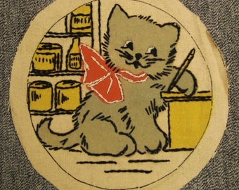 embroidery KITTY Storekeeper vintage charming pot holder  to frame 6 inch diam