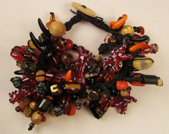 VintageCHARM beaded handcrafted  bracelet coral starfish ceramic stone wood multicolor 7 in long