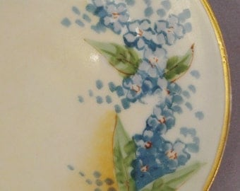 PLATE Bavaria Hutschereuther J H R Selb Porcelain forget me not flower handpainted  6  inches diameter