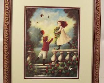 Vintage studio framed CHILDREN Print litho offset  14 x 12 under glass  framed
