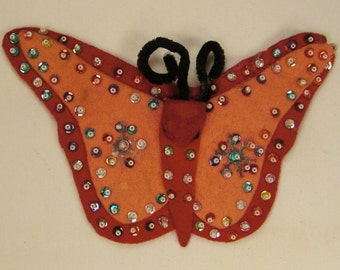 Xmas tree Ornament BUTTERFLY handcrafted felt and glass beads sequence  7 X 4