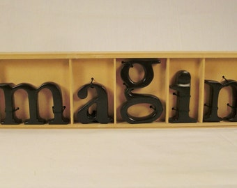 IMAGINE SCULPTURE Cast  Letters Metal  fit  in wooden box rectangles Display Signage