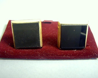 Cuff Links JET Black Glass vintage 1940s 50s Mint Old Stock Wedding GROOM Gift Germany