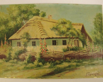 PAINTING COTTAGE  OIL Hollyhocks Thatched Roof  Signed by artist  Trees Fence 22 X 15 Original