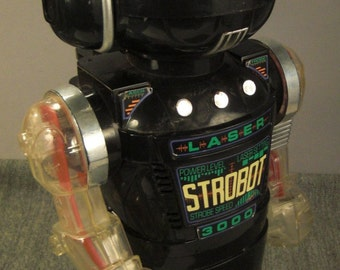 Vintage TOY ROBOT STROBOT New Bright IndustrialL ltd 1984 16 in tall  X 6 X 8 As Found