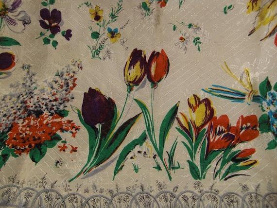 VINTAGE SCARF 1950s VIOLETS Tulips Crocus Flowers  31X30 Scarf