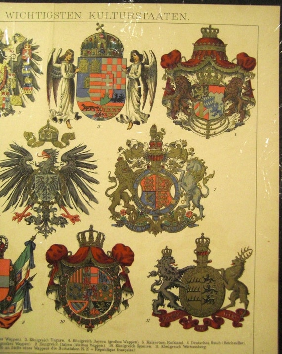 ROYAL European CRESTS Chromolithograph illustration from 1900s Berlin Germ. Encyclopedia