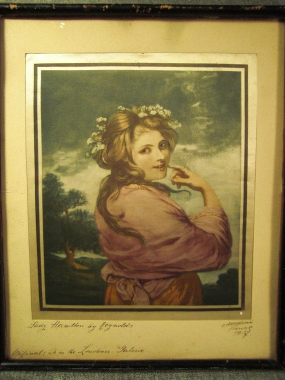 Print on SILK LADY Hamilton By Reynolds  VIENNA 1936  Color  Signed in original frame