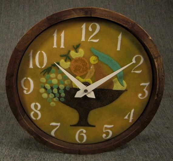 Wall Clock Enamel Face Fruit In Bowl Telechron By Vintagevasso