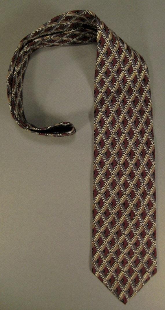Designer  Neck TIE WOODWARD Diamonds woven tweel Design 1980s Silk 59x4in