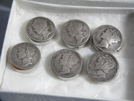 SILVER MERCURY DIMES Six 6 button covers 1920  1945 from  trading post  utah