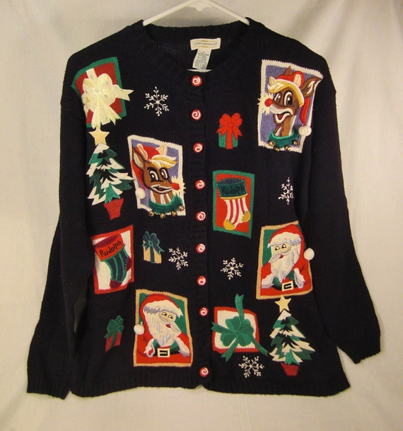 handcrafted XMAS SANTA and Rudolph Jacket applique  embroidered  panels Festive size 2 X  black