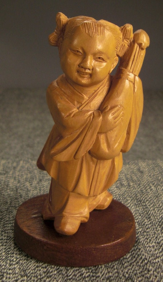 Reserved for Wenjie STATUE Young ASIAN  GIRL Carved Wood on wooden base 3.5 in tall2 in wide Handcarved