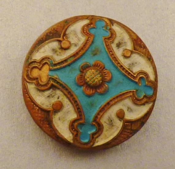 Antique ENAMEL  BUTTON Vintage  metal shanks Cast Bronze