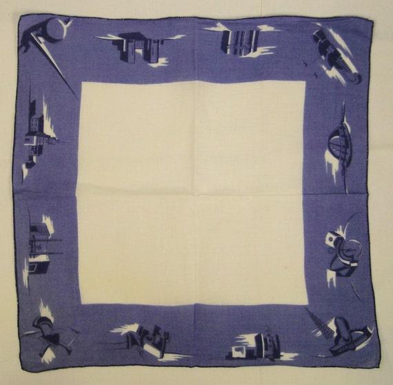Souvenir 1939 NEW YORK Worlds Fair  HANKIE Handkerchief Large 18 X 17 blue and white  mint