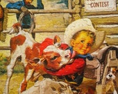 Super Sweet 1960s Complete Jigsaw Puzzle Sandy Gets a Lickin' Little Boy and Cow