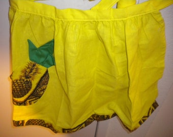 Vtge Hawaiian Barkcloth Tiki Pineapple Tropical Design Tapa Print Apron