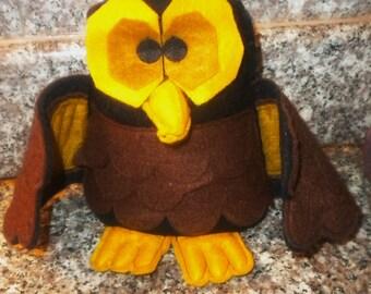 Halloween Decoration - Kitschy Felt Owl Shelf Sitter  FREE SHIPPING