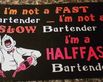 FREE SHIPPING Vintage Tag Board Kitschy Bartending Sign