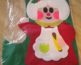 Vtge Made in Japan Commodore Old Fashion Figurine Stocking - Mrs. Claus