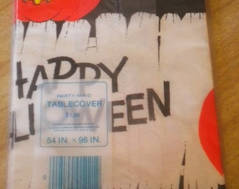 VTGE NIP Happy Halloween Party Maid Paper Tablecloth