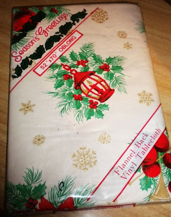 Vtge NIP 60s Vinyl Flannel Back Oblong Tablecloth